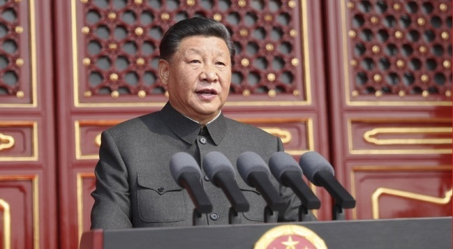 China's President Xi Jinping delivers a speech at a grand rally to celebrate the 70th anniversary of the founding of the People's Republic of China at Tian'anmen Square in Beijing on Tuesday, October 1, 2019. [Photo: Xinhua/Ju Peng]