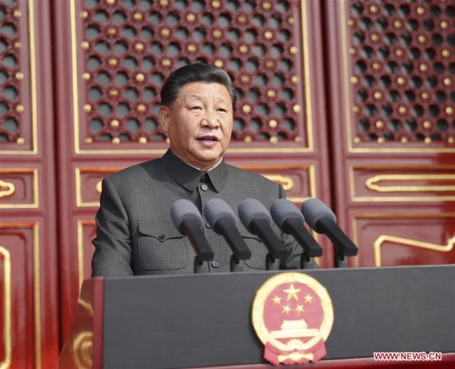 Chinese President Xi Jinping delivers a speech at a grand rally to celebrate the 70th anniversary of the founding of the People's Republic of China at the Tian'anmen Square in Beijing, on Oct. 1, 2019. [Photo: Xinhua/Ju Peng]