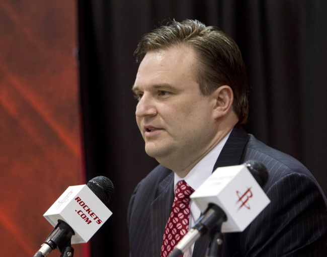 Daryl Morey, general manager of the Houston Rockets speaks during a press conference in Houston, Texas on July 19, 2012. [File Photo: AFP]