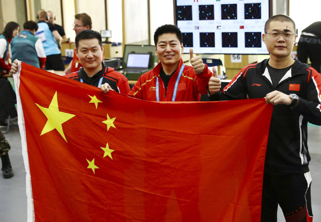 China wins tournament's 1st gold from 25m rapid fire pistol team at the 7th Military World Games in Wuhan. [Photo: VCG]