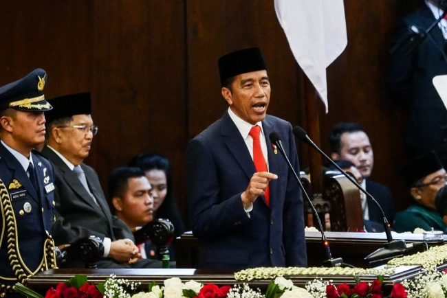 Indonesian President Joko Widodo delivers his speech during his inauguration at the Parliament building in Jakarta, Indonesia on October 20, 2019. [Photo: IC]