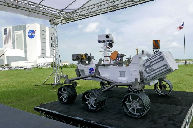 A replica of the Mars rover Perseverance is displayed outside the press site before a news conference at the Kennedy Space Center Wednesday, July 29, 2020, in Cape Canaveral, Fla. [Photo: AP]