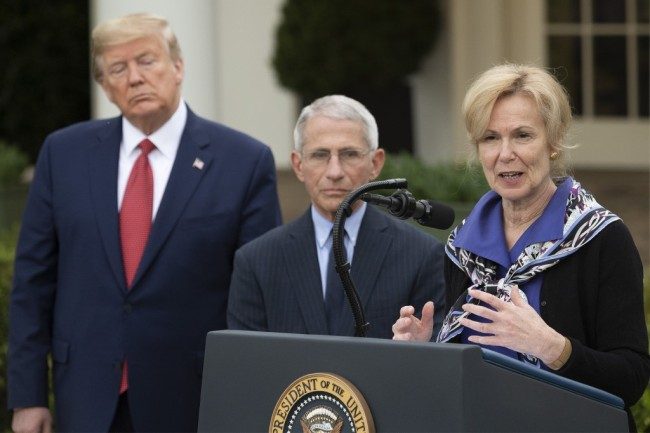 Coronavirus Response Coordinator Dr. Deborah Birx (R) speaks with US President Donald Trump and Director of the National Institute of Allergy and Infectious Diseases Dr. Anthony Fauci during a Coronavirus Task Force press briefing in the Rose Garden of the White House in Washington, DC, on March 29, 2020. [Photo: AP]