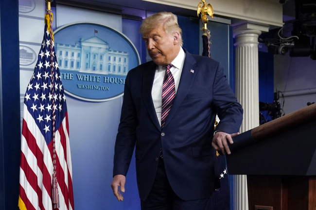 President Donald Trump leaves the podium after speaking at the White House, Thursday, Nov. 5, 2020, in Washington. [Photo: AP]